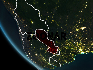 Satellite view of Paraguay at night