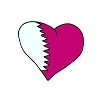 Qatar isolated heart flag on white background