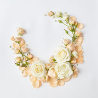 frame with beige roses