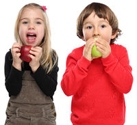 Kinder Apfel Obst Früchte essen Herbst gesunde Ernährung isoliert Freisteller freigestellt