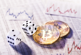 Kryptowährung Bitcoin mit Würfeln