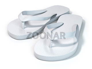 White flip flops isolated on white background.