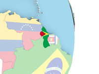 Guyana with flag on globe