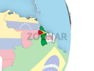 Guyana with flag on globe