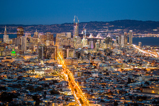 View over San Francisco by Night, California in USA