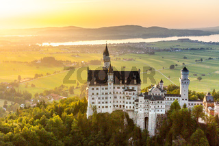 Neuschwanstein castle sunset