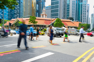 Motioned people crossing road Singapore