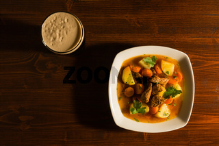 Traditional Irish Stew seen from above