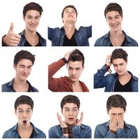 Young man multiple expressions