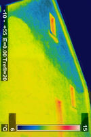 Thermal image of the side wall of a house