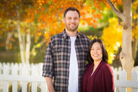 Outdoor Fall Portrait of Chinese and Caucasian Young Adult Couple.