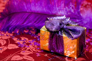 gift box with violet feather