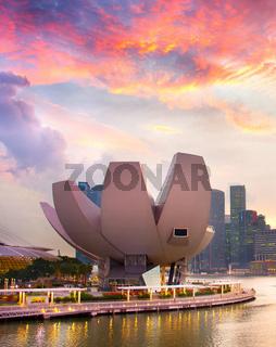 Singapore ArtScience museum at sunset
