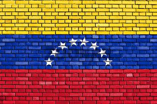 flag of Venezuela painted on brick wall