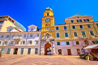 City of Rijeka main square and clock tower view