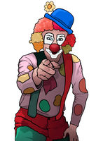 Cheerful Party Clown Pointing