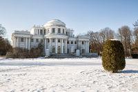 Elagin Palace on Elagin Island in winter sunny day
