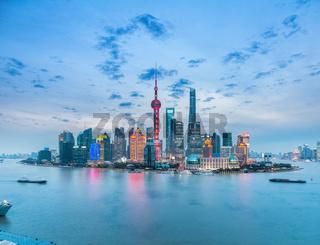 beautiful shanghai skyline in nightfall