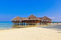 Cafe on tropical Maldives island