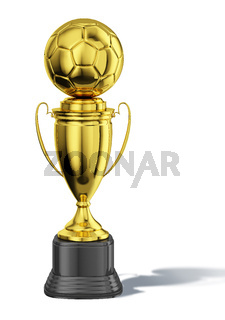 Trophy cup, with a soccer ball at the top. All in gold, with black basement.