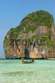 Maya Bay on Phi Phi Leh Island in Krabi Province, Thailand