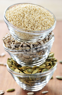 Stacked bowls of seeds