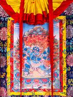 Buddhist thangka, Tibetan Buddhist painting on cotton, or silk applique