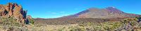 Panorama of rocks, desert and The Teide volcano