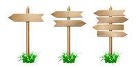 Set of wooden signpost