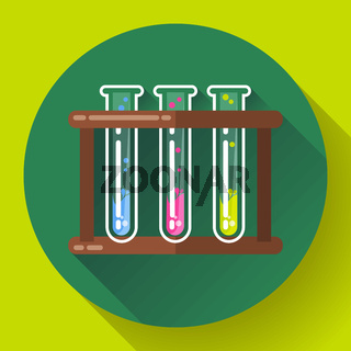 set test tubes bubbling sparkling liquid icon. Flat 2.0 design style.