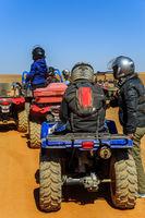 Ait Saoun, Morocco - February 23, 2016: Riders getting ready for bike race in desert