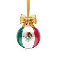 3D rendering Christmas ball with the flag of Mexico