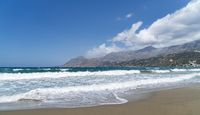 landscape with ocean waves and mountains, Crete Greece