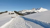 Winter hiking path with beautiful mountain view. Snow covered mount Lauenenhorn. Landscape near Gstaad, Switzerland.