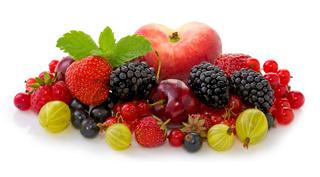 Ripe fruits isolated on white.
