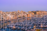 Beautiful architecture and boats in harbour,Three Cities,Malta