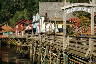 The famous historic Creek Street in Ketchikan Alaska
