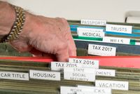 Home filing system for 2017 taxes organized in folders