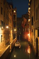 Night view of the canal. Long exposure photo. Venice