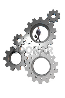 Teamwork concept with cogwheels and business people