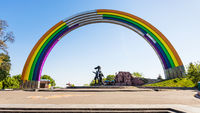 rainbow painted Arch of Friendship of People