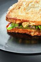 Delicious crispy bacon sandwich on a plate