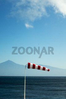 windsock and teide mountain in spring