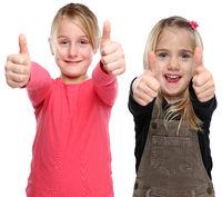 Mädchen Kinder lachen glücklich Daumen hoch Freisteller freigestellt isoliert