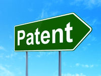 Law concept: Patent on road sign background