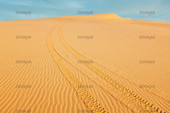 All-terrain vehicle ATV tracks in white sand dunes on sunrise,