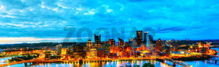 Panoramic aerial overview of Pittsburgh