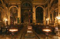 Interior Chiesa di S. Moise at night in Venice