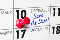 Wall calendar with a red pin - December 10