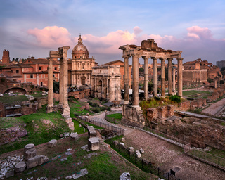 Roman Forum (Foro Romano) in the Evening, Rome, Italy